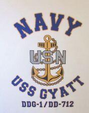 USS GYATT  DDG-1/ DD-712* DESTROYER * U.S NAVY W/ ANCHOR* SHIRT