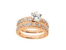 1.30Ct Round Cut Diamond Bridal Engagement Ring Set Solid 18k Gold F VS1