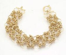 Three Row Wide Byzantine Bracelet Senora Clasp Real 14K Yellow Gold QVC
