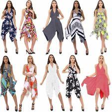 Women Backless Hanky Dress Halter Neck PRINTED Backless Swing Dress Plus Size