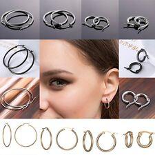 2017 Women Wedding Hoop Earrings Stainless Steel Sleeper Big Small Round Jewelry