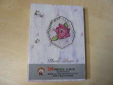 Lila & Crema Floral álbum de fotos 200 4x6 DESLIZABLE bolsillos con memorándum
