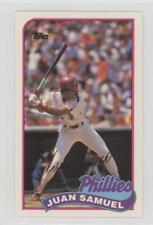 1989 Topps/LJN Baseball Talk #95 Juan Samuel Philadelphia Phillies Card