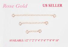 (R) SOLID 14K ROSE PINK GOLD Extender /Safety Chain  Necklace Bracelet w/ Lock