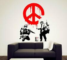 "Banksy Graffiti ""Cnd Pace Firmare soldati"" Arte Adesivi da parete DECOR 50cm x 70 UK"