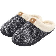 Women's MemoryFoam Slippers Wool-Like Plush Fleece Lined House shoes Rubber Sole