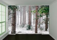 3D Snowing Green Trees Wall Paper Murals Wall Print Decal Wall Deco AJ WALLPAPER