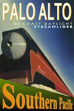Southern Pacific Coast Daylight Palo Alto Train Poster Art Print 7 Cities105