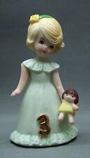 Growing Up Girls 3 Figurine Blonde Green Gown Enesco 1981 Korea Ellen Williams