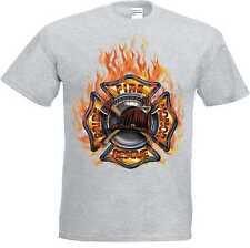 Camiseta Tono Gris Bomberos Motivo Bomberos Modelo Fuego Rescue