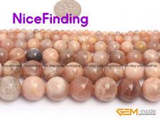 "Natural Stone Round Sunstone Craft Jewellery Making Design Beads Gemstoe 15"""