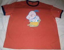 Men's Disney Store Orange ANGRY DONALD DUCK Ringer Distressed T Tee SHIRT XXL 2X