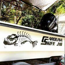 2 Skeleton fish boat Decals large Fishing graphic sticker shark salt skiff v6