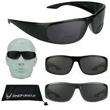 BIFOCAL Sunglasses Sun Readers Square Plastic Casual Full Wrap Sporty Smoke Mens