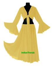 Yellow - Belly Dance Chiffon Skirt + Top Set Ruffle Tie Gypsy Dress Jupe