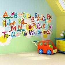 26 Individual Alphabet Animals Self-Adhesive Wall Art Stickers for Nursery