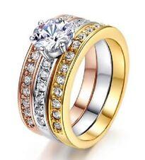 18K GOLD EP 2.5CT DIAMOND SIMULATED 3 RING ENGAGEMENT SET RING size 6-9 u choose