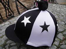 Cappello da equitazione Lycra SETA Skull Cap Coperchio Nero/Bianco * Stars con o W/O pon pon