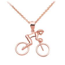 Fine 14k Rose Gold Woman Cyclist Pendant Necklace