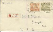 Nauru SG#29A,#32A 1/NO/28 Registered(label) to USA, backstamped