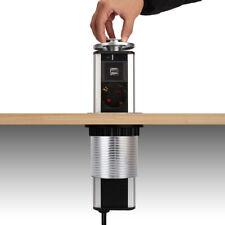 3 Fach versenkbare Steckdosenleiste Steckdose Tischsteckdose mit 2x USB