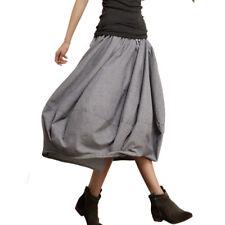 Vintage Womens Casual Skirt Cotton Linen Loose Elastic Waistband Puff Half Dress