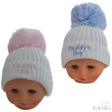 personalised White Hat w/ Pom-Pom  White/Pink Daddys Girl & mummys girl