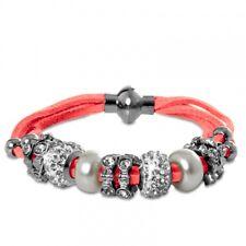 CASPAR Damen Leder Armband Armschmuck Schmuck Beads Charms Strass Magnet