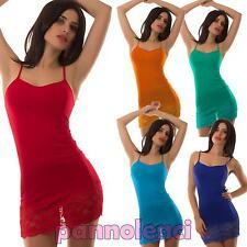 Top miniabito donna vestitino jersey fondo pizzo floreale abito canotta AS-0026