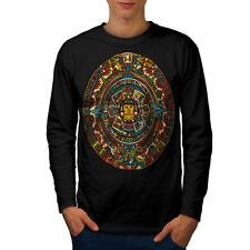 Wellcoda Aztec Traditional Mens Long Sleeve T-shirt, China Graphic Design