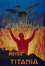 Ciclos Motos Titania classic bicycle T-shirt. Caballeros Damas Niños Tamaños. ciclismo