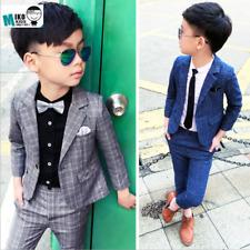 Kids Boy Wedding Party Suit Korean Clothing Blazer Coat Pants Blouse Costume Set