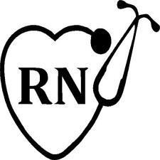 RN with stethoscope vinyl decal/sticker heart nurse hospital home medicine