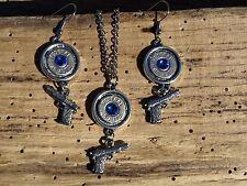 Handmade Bullet Necklace & Earrings, Brass 45s, Gun Charms & Crystal S-671