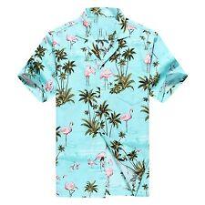 Made in Hawaii Men Hawaiian Aloha Shirt Luau Cruise Pink Flamingos Turquoise