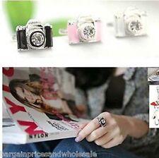 Vintage REtro Camera Fashion Shine Crystal Ring Adjustable