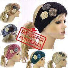 Girl Ladies Crochet Knit Stretch Button Ear Warmers Head Band Headband Flowers