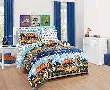 Mk Home 5Pc Twin Comforter Set Teens/Boys Construction Trucks Tractors Blue Red