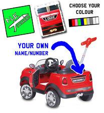 "FRONT + BACK Personalizzata Targa per bambini ""Mini Cooper Push Car BUGGY TOY"