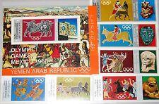 North yémen yémen nord 1968 784-89 bloc 77 Olympics Mexico ancient Maya Art MNH