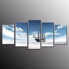 Canvas Print Oil Painting Home decoration Wall A sailing ship at sea 5 Panels