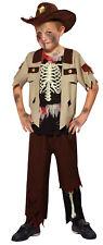 Boys Kids Skeleton Zombie Sheriff Cowboy Halloween Fancy Dress Costume 4-10