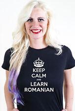 Mantenere la calma e imparare rumeno UNISEX UOMO DONNA T SHIRT TEE