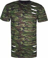 Men's Designer Ripped T-Shirt Crew Neck Short Sleeves Camouflage Print