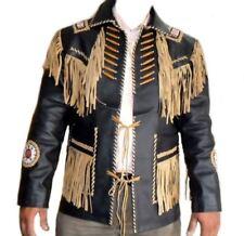 Fatto a Mano Occidentale Pelle Cappotto Cowboy Fringe Perline Ossatura Giacca