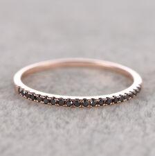 Half Eternity Band Pave .25ct Black Diamonds Solid 14K Rose Gold Wedding Ring
