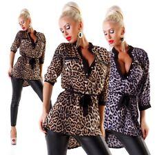 10066 Sexy Damen Bluse Langarm Hemdbluse Tunika Damenbluse Leopard Vokuhila