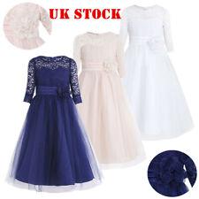 UK Flower Girl Dress Lace Kids Princess Pageant Wedding Bridesmaid Gown Dresses