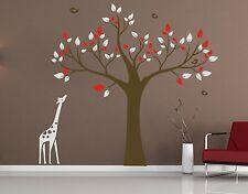 giraffe Tree BIRDS Removable Wall Art Stickers Kids Nursery Baby Vinyl Decals