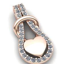 Genuine 1carat Round Cut Diamond Women's Fancy Heart Pendant 18K Gold